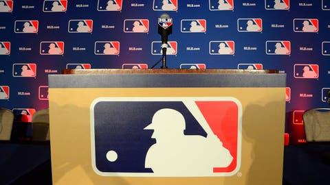 Dec 8, 2014; San Deigo, CA, USA; A general view of the podium at the MLB Winter Meetings at Manchester Grand Hyatt. Mandatory Credit: Jake Roth-USA TODAY Sports