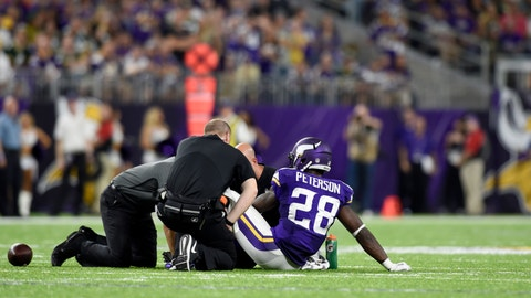 5. Adrian Peterson injured in second game, missed most of season