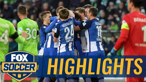 WOLFSBURG, GERMANY - DECEMBER 03: (L-R) Peter Pekarik, John Anthony Brooks, Genki Haraguchi, Marvin Plattenhardt and Julian Schieber of Hertha BSC celebrate after scoring the 1:1 during the game between VfL Wolfsburg and Hertha BSC on december 3, 2016 in Wolfsburg, Germany. (Photo by City-Press via Getty Images)