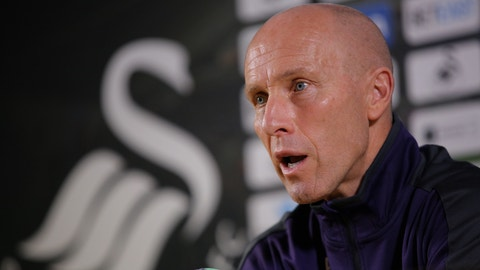 SWANSEA, WALES - NOVEMBER 17: Manager Bob Bradley during the Swansea City Press Conference at The Liberty Stadium on November 17, 2016 in Swansea, Wales. (Photo by Athena Pictures/Getty Images)