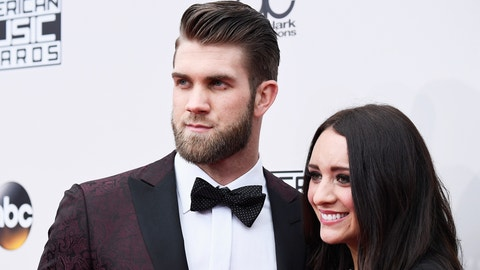 LOS ANGELES, CA - NOVEMBER 20:  Baseball player Bryce Harper and Kayla Varner attend the 2016 American Music Awards at Microsoft Theater on November 20, 2016 in Los Angeles, California.  (Photo by Frazer Harrison/AMA2016/Getty Images for dcp)