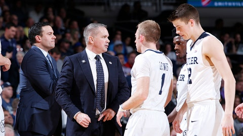 INDIANAPOLIS, IN - NOVEMBER 16: Head coach Chris Holtmann of the Butler Bulldogs talks to his players during the game against the Northwestern Wildcats at Hinkle Fieldhouse on November 16, 2016 in Indianapolis, Indiana. Butler defeated Northwestern 70-68. (Photo by Joe Robbins/Getty Images)