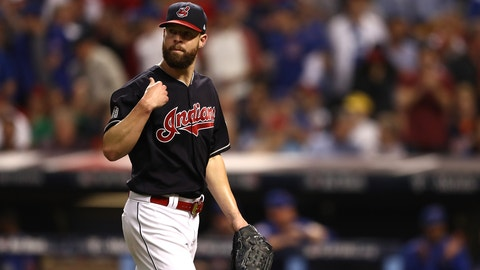 CLEVELAND, OH - NOVEMBER 02:  Corey Kluber #28 of the Cleveland Indians reacts during the fourth inning against the Chicago Cubs in Game Seven of the 2016 World Series at Progressive Field on November 2, 2016 in Cleveland, Ohio.  (Photo by Elsa/Getty Images)