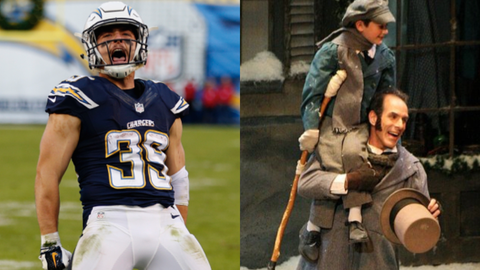 """Danny Woodhead and Tiny Tim from """"A Christmas Carol"""""""