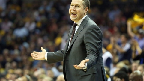 May 15, 2015; Memphis, TN, USA; Memphis Grizzlies head coach Dave Joerger reacts to a no call in the first quarter against the Golden State Warriors in game six of the second round of the NBA Playoffs at FedExForum. Mandatory Credit: Nelson Chenault-USA TODAY Sports