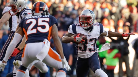 New England Patriots running back Dion Lewis runs against the Denver Broncos during the first half of an NFL football game Sunday, Dec. 18, 2016, in Denver. (AP Photo/Jack Dempsey)