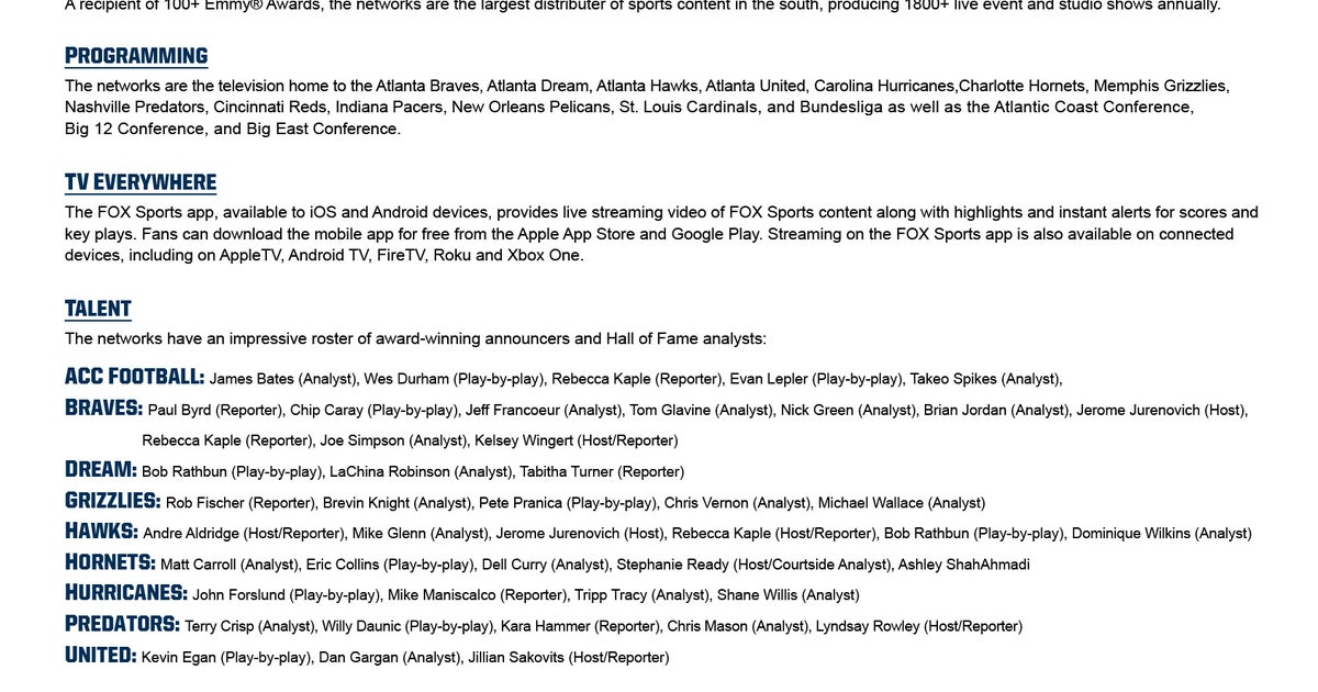 about fox sports south fox sports