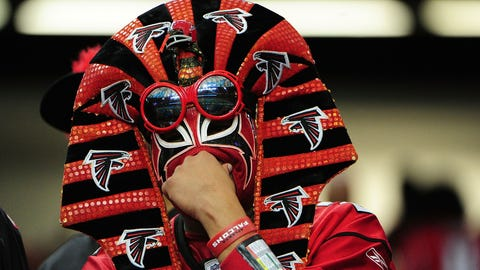 An Atlanta Falcons in some kind of wrestling mask and goggles combination