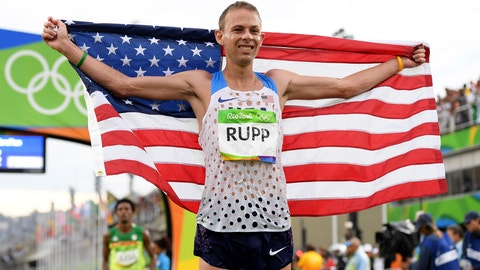 RIO DE JANEIRO, BRAZIL - AUGUST 21:  Galen Rupp of the United States celebrates as he wins bronze during the Men's Marathon on Day 16 of the Rio 2016 Olympic Games at Sambodromo on August 21, 2016 in Rio de Janeiro, Brazil.  (Photo by Matthias Hangst/Getty Images)