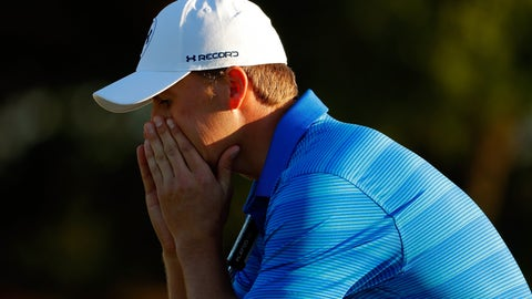 AUGUSTA, GEORGIA - APRIL 10:  Jordan Spieth of the United States reacts after finishing on the 18th green during the final round of the 2016 Masters Tournament at Augusta National Golf Club on April 10, 2016 in Augusta, Georgia.  (Photo by Kevin C. Cox/Getty Images)