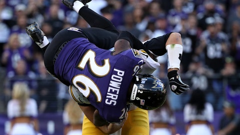 Ravens cornerback Jerraud Powers uses his Spider-Man powers to bring down Ben Roethlisberger