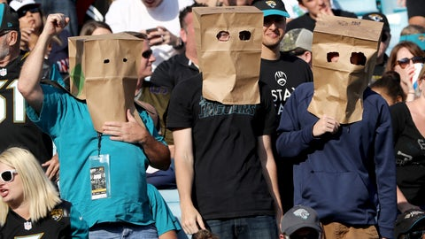 These are Jaguars bag heads, OK, not Browns fans