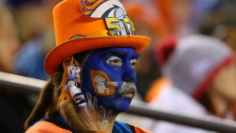 Nothing unusual about a top hat but this entire Broncos ensemble is a sight