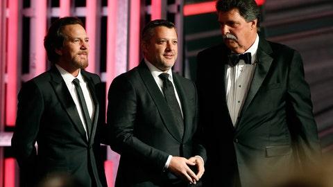 Tony Stewart, Eddie Vedder and Mike Helton
