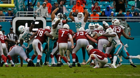 The Arizona Cardinals field goal unit stumbles