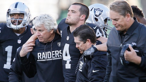Derek Carr, QB, Raiders (leg)