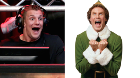 """Rob Gronkowski and Buddy from """"Elf"""""""