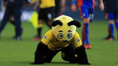 WATFORD, ENGLAND - DECEMBER 26:  Watford mascot Harry the Hornet dives on the floor at the final whistle mocking Wilfred Zaha of Palace during the Premier League match between Watford and Crystal Palace at Vicarage Road on December 26, 2016 in Watford, England.  (Photo by Richard Heathcote/Getty Images)
