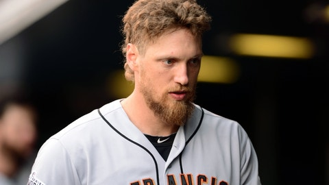 May 23, 2015; Denver, CO, USA; San Francisco Giants right fielder Hunter Pence (8) walks his dugout in the fifth inning against the Colorado Rockies at Coors Field. Mandatory Credit: Ron Chenoy-USA TODAY Sports