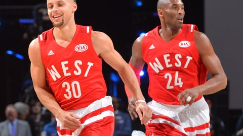 Kobe got to run with Steph Curry in his last All-Star Game appearance