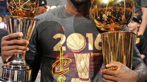 LeBron was all smiles after winning Cleveland's first NBA title