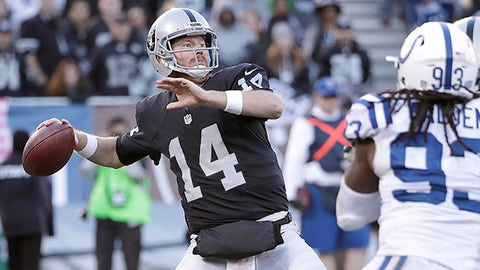 Oakland Raiders quarterback Matt McGloin (14) passes against the Indianapolis Colts during an NFL football game in Oakland, Calif., Saturday, Dec. 24, 2016. (AP Photo/Marcio Jose Sanchez)