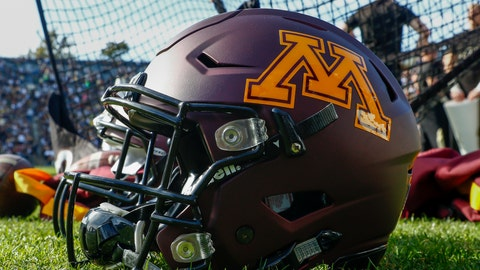 WEST LAFAYETTE, IN - OCTOBER 10: General view of a Minnesota Golden Gophers helmet seen during the game against the Purdue Boilermakers at Ross-Ade Stadium on October 10, 2015 in West Lafayette, Indiana.  (Photo by Michael Hickey/Getty Images)