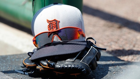 Mar 29, 2015; Clearwater, FL, USA; A general view of a Detroit Tigers hat, glove and sunglasses in the dugout against the Philadelphia Phillies at Bright House Field. Mandatory Credit: Kim Klement-USA TODAY Sports