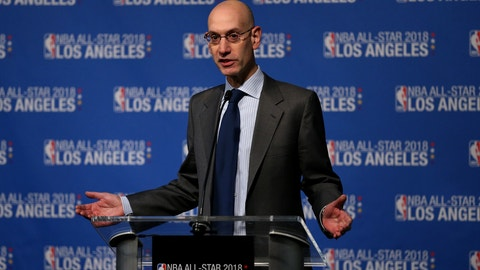 LOS ANGELES, CA - MARCH 22:  Adam Silver, commissioner of the National Basketball Association announces that the 2018 NBA All-Star game will be held in Los Angeles at Staples Center during a press conference at Staples Center on March 22, 2016 in Los Angeles, California.  (Photo by Sean M. Haffey/Getty Images)