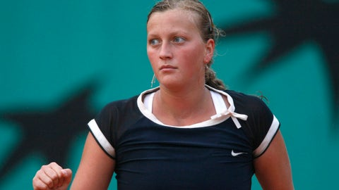Czech Republic's Petra Kvitova wins a point against Hungary's Agnes Szavay during their third round match of the French Open tennis tournament, Saturday  May 31, 2008 at the Roland Garros stadium in Paris. (AP Photo/Laurent Baheux)