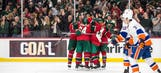 Wild score fastest three goals in franchise history in 12th straight win