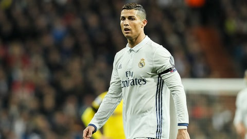MADRID, SPAIN - DECEMBER 07: Cristiano Ronaldo of Real Madrid looks on   during the UEFA Champions League match between Real Madrid CF and Borussia Dortmund at Bernabeu on December 7, 2016 in Madrid. (Photo by TF-Images/Getty Images)