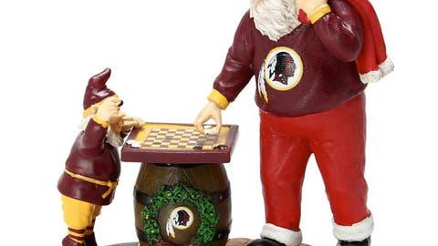 Redskins Checkerboard Santa Figurine