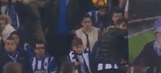 Unsuspecting fan gets hit right in the face by a soccer ball
