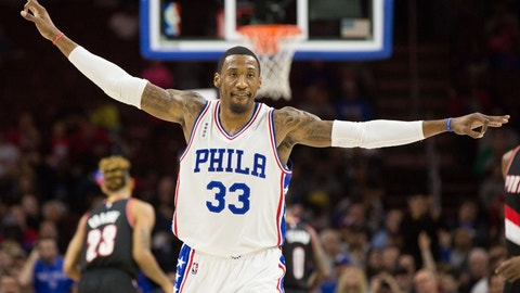 Jan 16, 2016; Philadelphia, PA, USA; Philadelphia 76ers forward Robert Covington (33) reacts after a three point score against the Portland Trail Blazers during the first half at Wells Fargo Center. Mandatory Credit: Bill Streicher-USA TODAY Sports