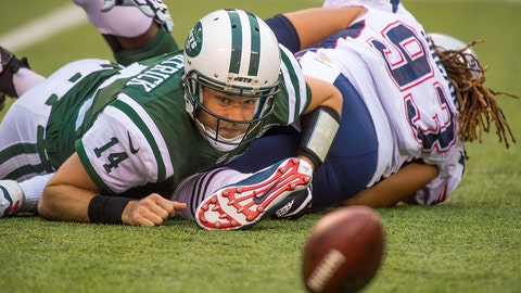 27 December 2015: New York Jets quarterback Ryan Fitzpatrick (14) on the ground looking at the fumble that fell from his hand as it rolls away from him during the NFL game between the New England Patriots and the New York Jets played at MetLife Stadium in East Rutherford, NJ. (Photo by Gavin Baker/Icon Sportswire) (Photo by Gavin Baker/Icon Sportswire/Corbis via Getty Images)