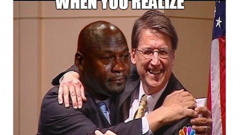 NC senator deploys Crying Jordan attack campaign