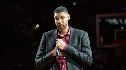 Tim Duncan speaks at his jersey retirement ceremony