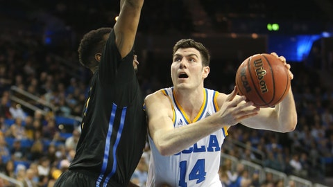UCLA forward Gyorgy Goloman battles in the paint.
