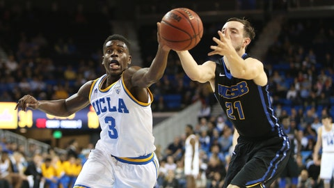 Aaron Holiday comes up with a steal during UCLA's 102-62 win over UCSB at Pauley Pavilion.