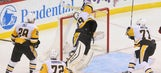 Watch Marc-Andre Fleury dive and bat puck out of mid-air for incredible save