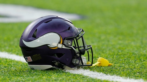 MINNEAPOLIS, MN - DECEMBER 18: A Minnesota Viking helmet sits on the turf prior to an NFL football game between the Indianapolis Colts and the Minnesota Vikings on DECEMBER 18, 2016, at US Bank Stadium in Minneapolis MN.  (Photo by Jeffrey Brown/Icon Sportswire via Getty Images)