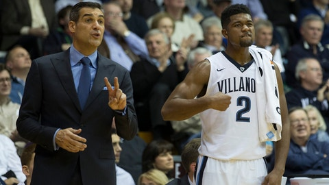 VILLANOVA, PA - DECEMBER 13: Head coach Jay Wright and Kris Jenkins #2 of the Villanova Wildcats react from the bench in the second half against the Temple Owls at The Pavilion on December 13, 2016 in Villanova, Pennsylvania. The Villanova Wildcats defeated the Temple Owls 78-57. (Photo by Mitchell Leff/Getty Images)