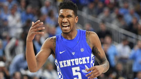 Dec 17, 2016; Las Vegas, NV, USA; Kentucky Wildcats guard Malik Monk (5) gestures towards a teammate during a game against the North Carolina Tar Heels at T-Mobile Arena. Mandatory Credit: Stephen R. Sylvanie-USA TODAY Sports