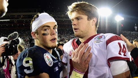 PASADENA, CA - JANUARY 02: (EDITORS NOTE: Retransmission with alternate crop.) Quarterback Trace McSorley #9 of the Penn State Nittany Lions greets quarterback Sam Darnold #14 of the USC Trojans after the Trojans defeated the Nittany Lions 52-49 to win the 2017 Rose Bowl Game presented by Northwestern Mutual at the Rose Bowl on January 2, 2017 in Pasadena, California. (Photo by Harry How/Getty Images)