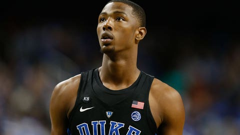 Dec 21, 2016; Greensboro, NC, USA; Duke Blue Devils forward Harry Giles (1) stands on the court in the second half against the Elon Phoenix at Greensboro Coliseum. Duke defeated Elon 72-61. Mandatory Credit: Jeremy Brevard-USA TODAY Sports