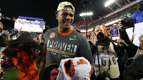 Jan 9, 2017; Tampa, FL, USA; Clemson Tigers quarterback Deshaun Watson (4) leaves the field after defeating the Alabama Crimson Tide 35-31 in the 2017 College Football Playoff National Championship Game at Raymond James Stadium. Mandatory Credit: Matthew Emmons-USA TODAY Sports