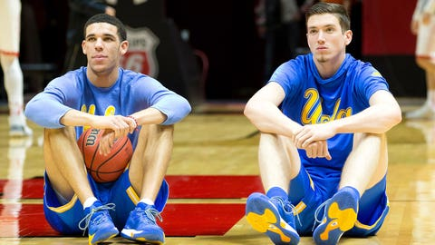 Jan 14, 2017; Salt Lake City, UT, USA; UCLA Bruins guard Lonzo Ball (left) and forward TJ Leaf (right) sit on the court prior to the game against the Utah Utes at Jon M. Huntsman Center. Mandatory Credit: Russ Isabella-USA TODAY Sports