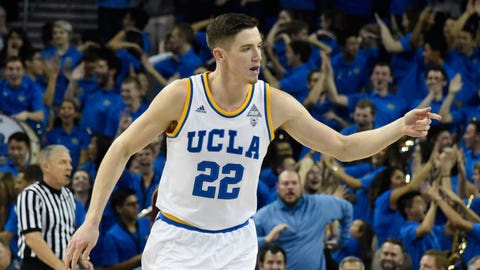 Jan 19, 2017; Los Angeles, CA, USA; UCLA Bruins forward TJ Leaf (22) reacts after a made basket against the Arizona State Sun Devils in the first half at Pauley Pavilion. Mandatory Credit: Richard Mackson-USA TODAY Sports