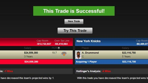 Detroit Pistons: Carmelo Anthony for Andre Drummond